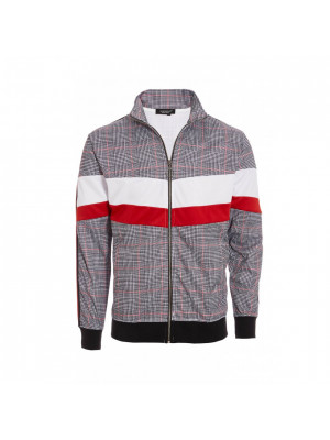Red Colour Block Check Jacket