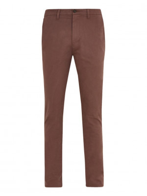FM London Mens Mauve Slim Fit Stretch Chinos - Mauve