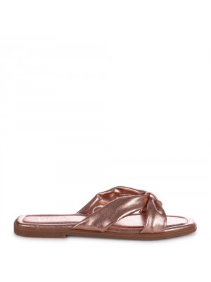EMMY - Rose Gold Faux Leather Bow Flat Slider