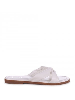 EMMY - White Faux Leather Bow Flat Slider