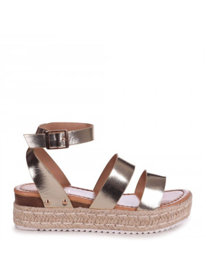 STEP AHEAD - Gold Faux Leather Double Strap Espadrille Inspired Platform Wedge