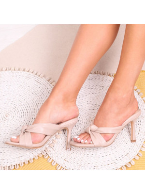 VESPER - Nude Faux Leather Mule With Knotted Front Strap - Linzi
