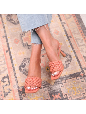 THALIA - Coral Faux Leather Weaved Front Strap Mule