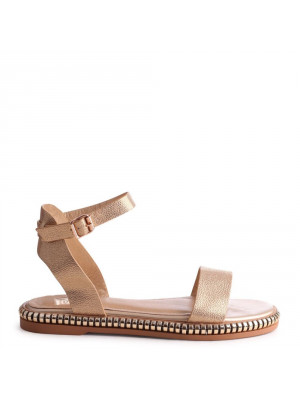 KIRSTEN - Gold Faux Leather Two Part Sandal With insert Chain Trim - Linzi