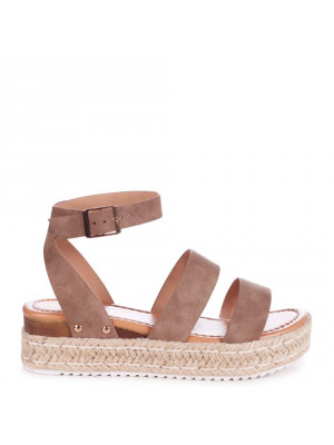 STEP AHEAD - Taupe Nubuck Double Strap Espadrille Inspired Platform Wedge