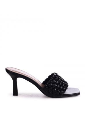THALIA - Black Faux Leather Weaved Front Strap Mule