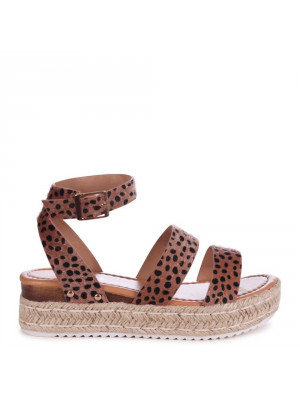 STEP AHEAD - Cheetah Faux Pony Double Strap Espadrille Inspired Platform Wedge