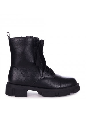 RYDER - Black Nappa Velvet Lace Up Military Style Boot With Heavy Sole