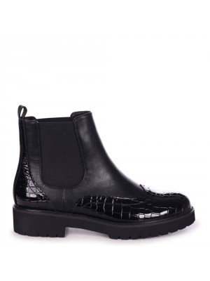 MUSE - Black Patent Croc & Nappa Brogue Style Chelsea Boot