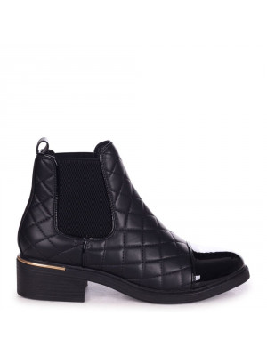 ZIMI - Black Nappa Quilted Chelsea Boot With Patent Toe Cap And Gold Heel Trim - Linzi