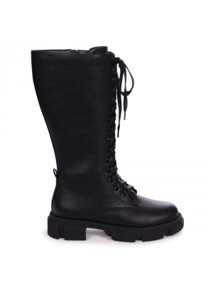 VERA - Black Nappa Long Lace Up Military Style Boot With Heavy Sole