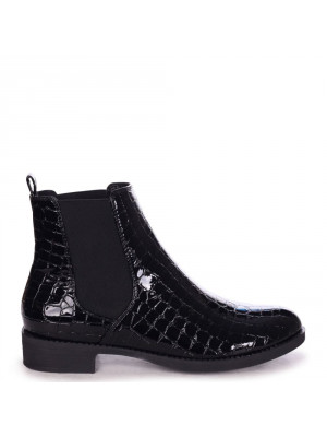 WILLOW - Black Patent Croc Classic Chelsea Boot With Elasticated Gusset