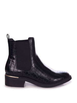 MYTH - Black Croc Nappa Classic Chelsea Boot With Gold Heel Trim