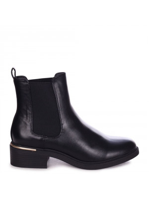 MYTH - Black Nappa Classic Chelsea Boot With Gold Heel Trim