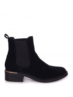 MYTH - Black Rough Suede Classic Chelsea Boot With Gold Heel Trim