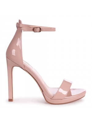 GABRIELLA - Nude Patent Barely There Stiletto Heel With Slight Platform