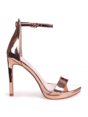GABRIELLA - Rose Gold Barely There Stiletto Heel With Slight Platform