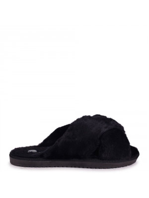 CLOUD - Black Fluffy Crossover Slippers