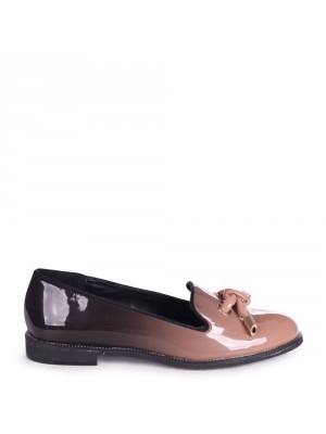CLARICE - Mocha & Black Ombre Patent Loafer With Front Knot Detail And Studded Trim
