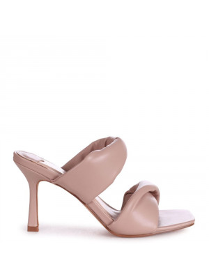 RIVAH - Mocha Nappa Padded Double Front Strap Slip On Square Toe Mule