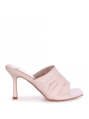 LEXIE - Nude Nappa Ruched Front Slip On Square Toe Mule