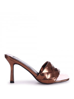 CANDID - Bronze Metallic Square Toe Heel With Woven Front Strap