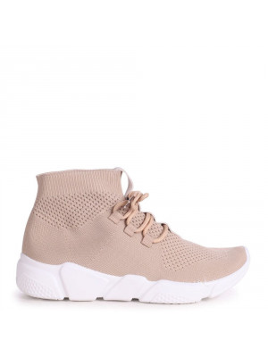 RYLEE - Beige Sock Ankle Length Trainer With Lace Up Detail & Chunky White Sole