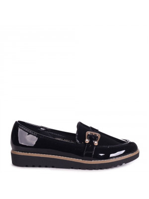 HONEY - Black Patent Classic Slip On Loafer With Horse Shoe Trim Detail