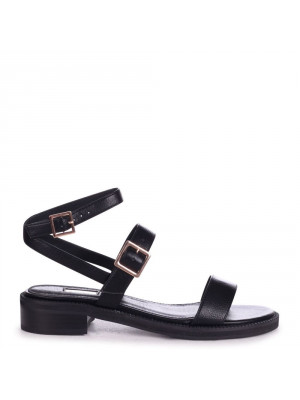 OLIVE - Black Faux Leather Double Gold Buckle Sandal