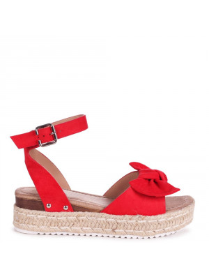 DREAM ON - Red Faux Suede Bow Detail Espadrille Inspired Platform Wedge