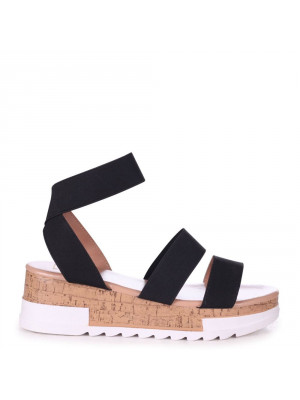 ELECTRA - Black Elastic Strap Flatform Cork Inspired Wedge