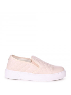 NEVE - Beige Faux Leather Quilted Slip on Trainer