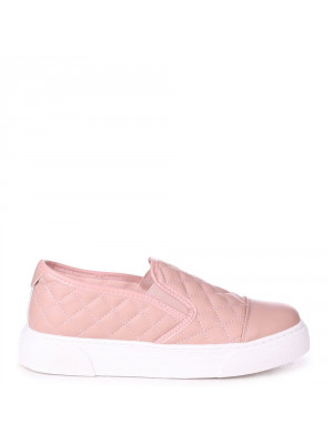 NEVE - Pink Faux Leather Quilted Slip on Trainer