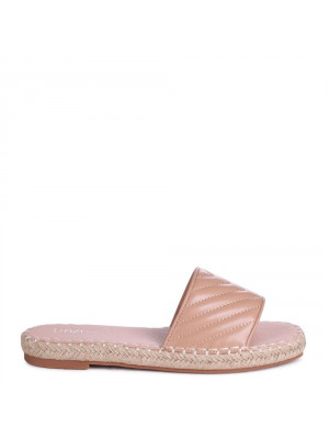 SAVANNAH - Nude Faux Leather Quilted Platform Espadrille Inspired Slider