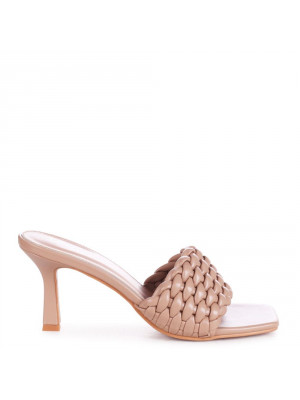 THALIA - Taupe Faux Leather Weaved Front Strap Mule