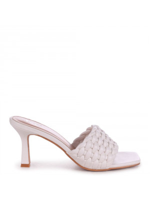 THALIA - White Faux Leather Weaved Front Strap Mule