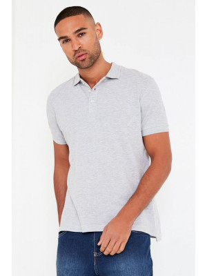 I Saw it First - Grey Marl Mens Short Sleeve Polo