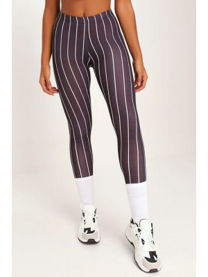I Saw it First - Ladies Black Pinstripe Print High Waisted Leggings