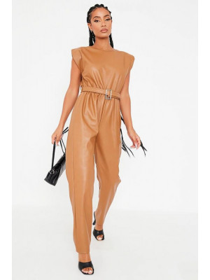 I Saw it First - Camel Faux Leather Shoulder Padded Belted Jumpsuit