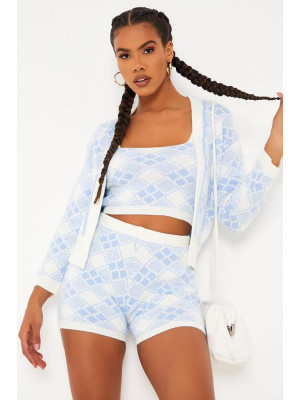 I Saw it First - Blue Open Front Checked Knitted Cardigan
