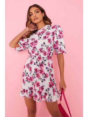 I Saw it First - White Woven Floral Print Puff Sleeve Frill Hem Skater Dress