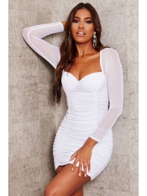 I Saw it First - White Slinky Mesh Cut Out Bodycon Dress