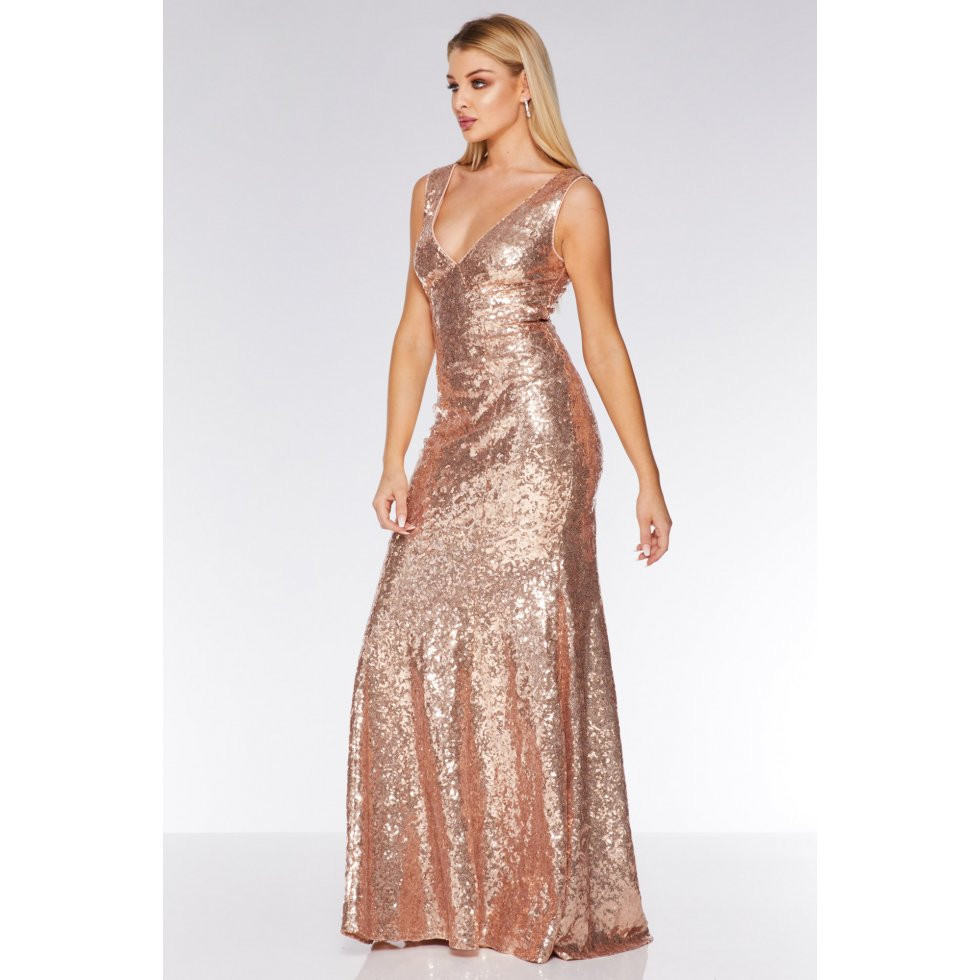 bbd29dea Champagne Sequin V Neck Sleeveless Maxi Dress